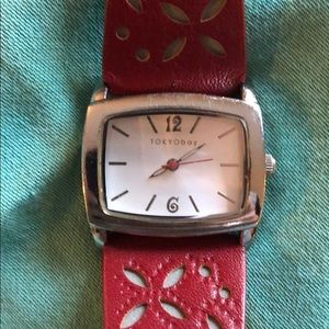 Red Leather Women's Watch